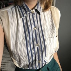 [Vintage] Sleeveless Stripe Button Down Shirt